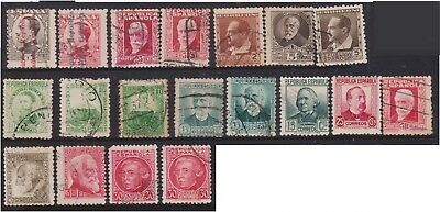 (K130-192) 1931 Spain mix of 19 stamps 5p to 50p (GD)