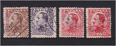 (K130-184) 1930 Spain mix of 4 stamps 2c to 25c Alfonso (FV)