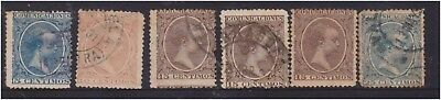 (K130-179) 1899 Spain mix of 6 stamps 5c to 25c Alfonso (FQ)
