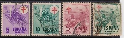 (K130-203) 1940 Spain mix of 5 stamps Anti TB 5c to 10c (GP)