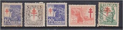 (K130-199) 1940s Spain mix of 5 ANTI TB stamps 5c to 25c (GL)