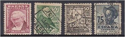 (K130-198) 1940 Spain 4mix of stamps 25c to 75c (GK)