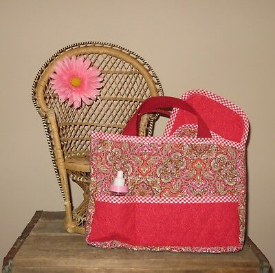 Handmade Quilted Doll Diaper Bag Tote w/ Burp Cloth AG ~ Bitty Baby - Red Pink