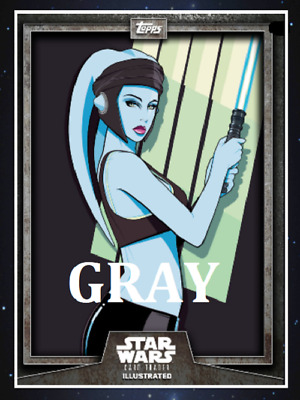 Topps Star Wars Card Trader Illustrated Cti S6 Wave 2 Aayla Secura Gray