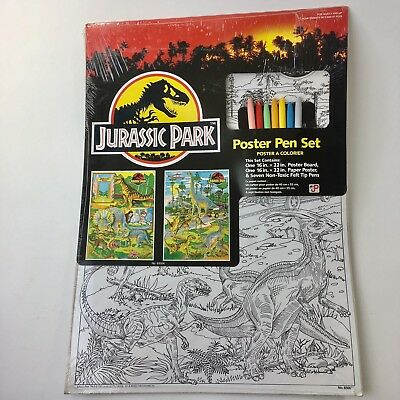 VTG Jurassic Park Poster Pen Set 1992 16in x 22in Posters New in Package