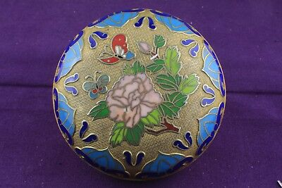Chinese Cloisonne Brass Coloured & Enamel Circular Trinket Box with Butterflies