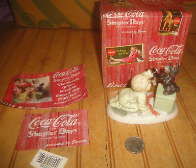 Enesco Coca Cola Simpler Days Boy w/Puppy & Coke Porcelain Figurine in Box
