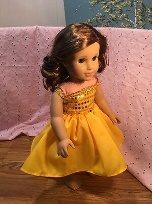 """Fits American 18"""" Girl Doll Clothes Dress Gown High Low Princess Outfit Yellow"""