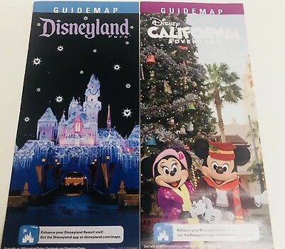 Disneyland and California Adventure Park Christmas Holiday 2018 Guide Map Set