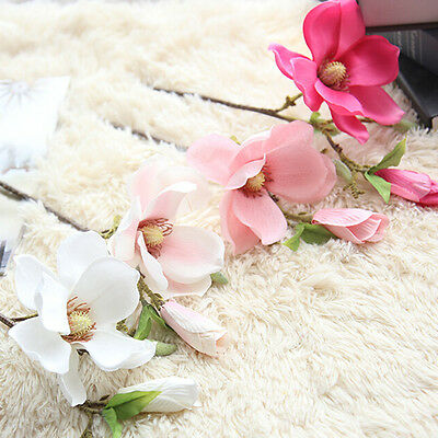 1pc Artificial Magnolia Blossom Silk Flower Floral Craft for House Decoration