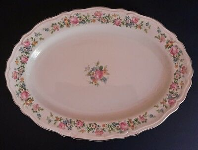 """Vintage Edwin M Knowles China Co Floral Pattern 11 1/2"""" Oval Serving Platter"""