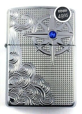 BRAND-NEW Armor Case Luxury Waves Blue Crystal Zippo Lighter In Box, # 28809