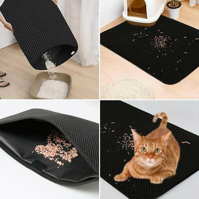 Double Layer Cat Litter Non-Slip Waterproof Non-Toxic Black EVA Cat Litter Mat