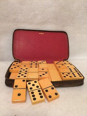 Catalin / Bakelite Dominoes. VINTAGE with a Leather Case.