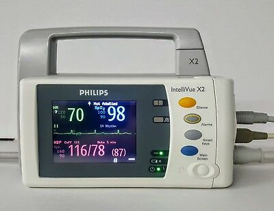 Philips Intellivue M3002A X2 Mms Patient Monitor -  Masimo Spo2, Ecg, Nibp