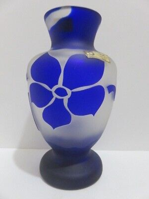 Bayel Signed SEVRES of France Cameo Vase Blue Cameo Floral Full Lead Crystal
