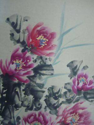 "Very Large Old Beautiful Chinese Hand Painting Peony Flowers ""BanDing"" Mark"