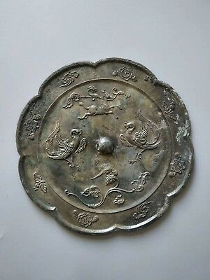 China Ancient Tang Kingdom Old Bronze Mirror Beautiful Horse Bird Pattern Rare