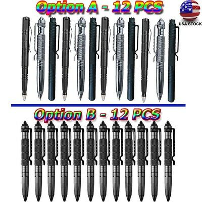 "12x 6""Aluminum Tactical Pen Glass Breaker Writing Survival Outdoor Cool Tool US☆"