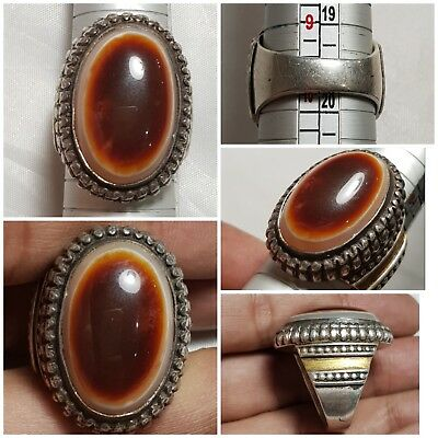 Ancient lukmi agate eye dze  silver  ring