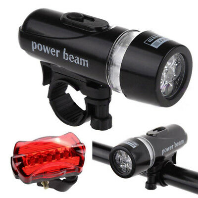 New Waterproof 5 LED Lamp Bike Bicycle Front Head Light+Rear Safety Flashlight F