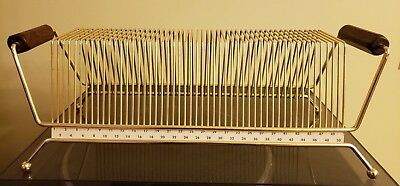 Wire Storage Rack for 45 rpm records brass with wood handles holds 50 45s
