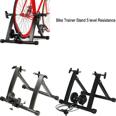 Indoor Magnetic Bike Bicycle Trainer Roller Stand 5 Level Resistance Folding