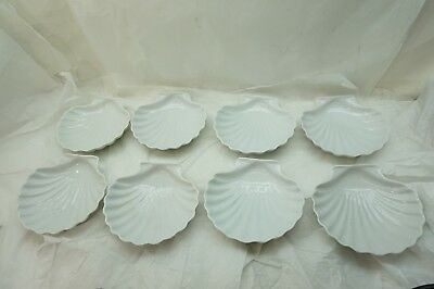 DANSK PLATES WHITE SCALLOP SHELL CANAPE DESSERT SET OF 8 OVEN MICROWAVE SAFE d