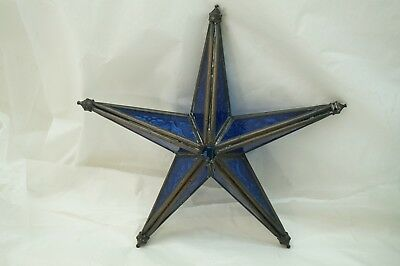 ANTIQUE STAR STAINED LEADED GLASS 5 POINTS TEXTURED PATTERNED BLUE GLASS 8in