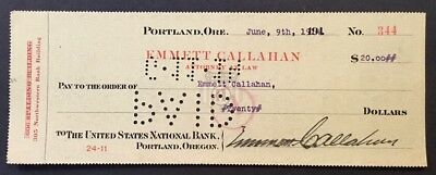 Portland, OR - United States National Bank - Antique Check - 1914