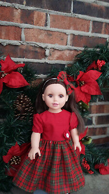 "18"" Doll Clothes Red Christmas Holiday  Dress Outfit fits American Girl Doll"