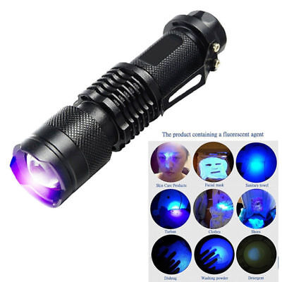 395/365 nM UV Ultra Violet LED Flashlight Blacklight Inspection Lamp Torch FK
