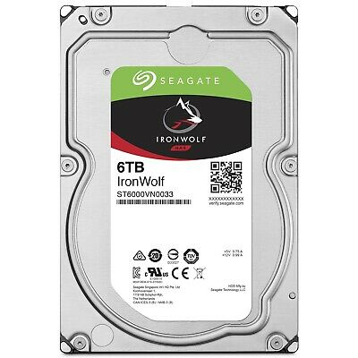 "Seagate IronWolf 6TB 3.5"" SATA Internal NAS Hard Drive HDD 7200RPM 256MB Cache"