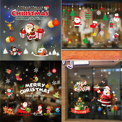Christmas Window Decals.Merry Christmas Vinyl Wall Stickers Show Window Decals Happly New Year Decors Uk