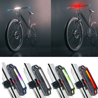 Bike Bicycle Cycling USB Rechargeable Warning Light Front Rear LED Tail Lamp FK