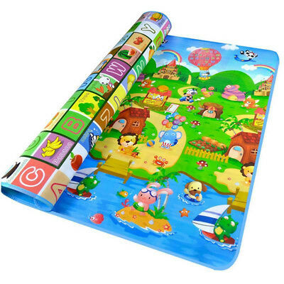 2 Side 200X180Cm Baby Play Mat Kids Crawling Educational Soft Foam Baby Carpet F