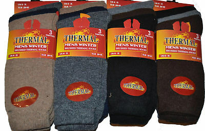 12 Pairs Mens Black Thermal brushed inside Thick Warm Work Boot Socks Size 6-11