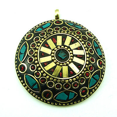 Solid Brass Turquoise Gemstone Antique Ethnic Vintage Nepali Pendant 286
