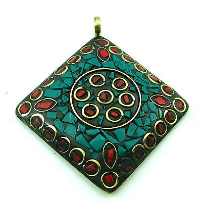 Solid Brass Turquoise Gemstone Antique Ethnic Vintage Nepali Pendant 289