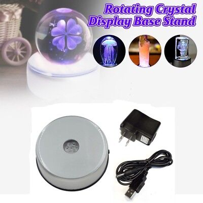 7 LED 3D Crystal Trophy Glass Art Rotating Display Light Base Stand +Adapter GL