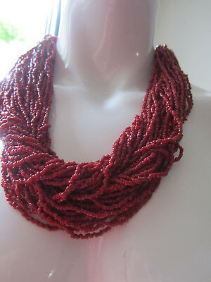 Long/ red coral beads,/20+rows,Choker/ necklace, silk cord/FREESIZE/20+ROW