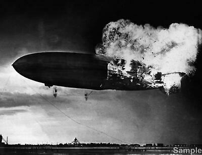 German Zeppelin LZ 129 'Hindenberg' Airship Explosion Black & White Photo Print