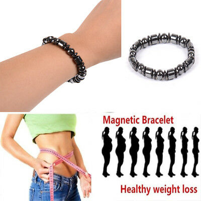 Mens Women Magnetic Therapy Energy Bracelet Beads Stone Weight Loss Health Care