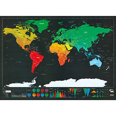 Large Scratch Off Journal World Map Deluxe Personalized Travel Poster Atlas Log