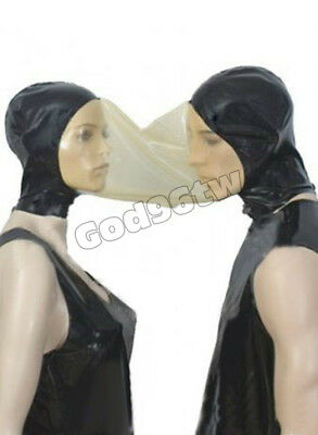 100% Latex Gummi Rubber 2 Masks face connection Hood catsuit customized costume
