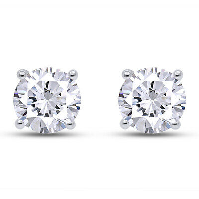 Round Earrings Studs 4 CT Solid 14K White Gold Brilliant Cut Screw Back Basket