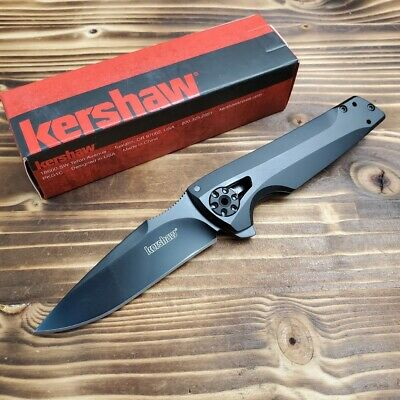 Kershaw Flythrough Black Stainless 8Cr13MoV Plain Edge Tactical Knife 1988 New