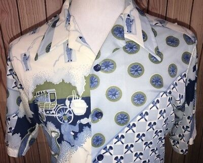 Vintage 60s 70s ALL OVER PRINT Mens Sz M Polyester DISCO Retro Hippie Mod Shirt