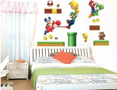 STICKERS MUR AUTOCOLLANT ADHESIF SUPER MARIO DECORATION ...