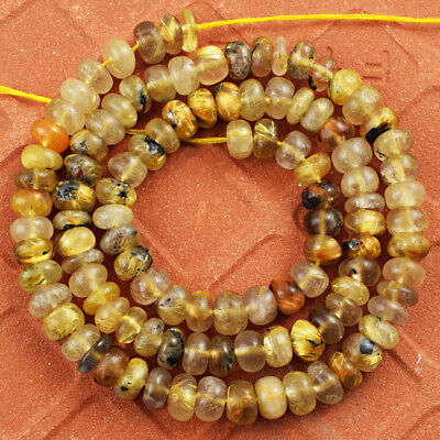 190.00 Cts / 17 Inches Earth Mined Golden Rutile Quartz Drilled Beads Strand
